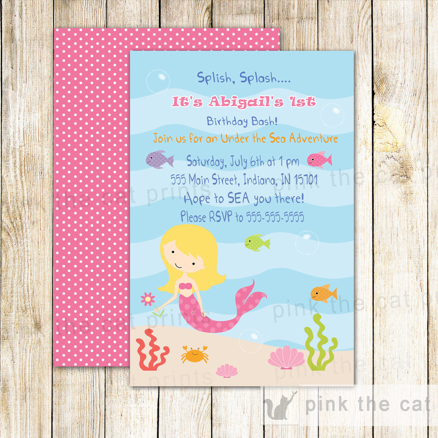 Mermaid Invitation Girl Birthday Party Pink The Cat