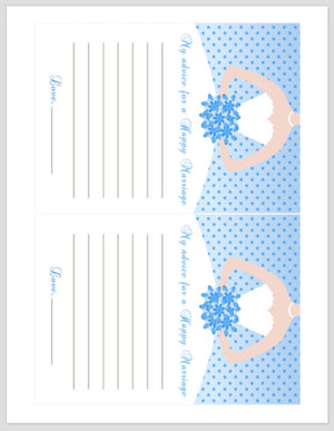 Bridal Shower Advice Card Blue Polka Dots