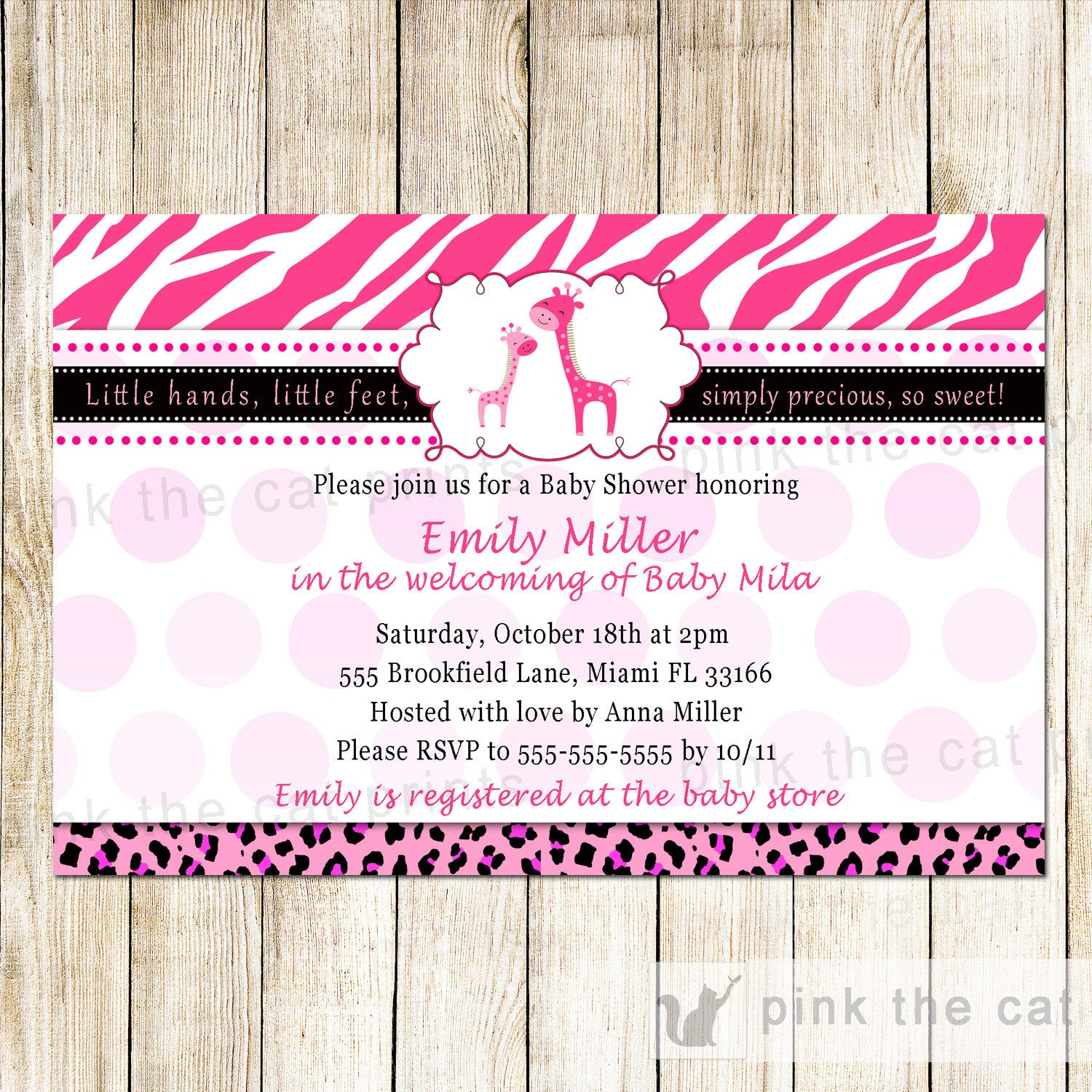 Giraffe Baby Girl Shower Invitation Hot Pink Zebra – Pink The Cat