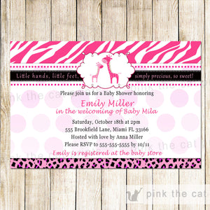 hot pink giraffe baby shower invitation