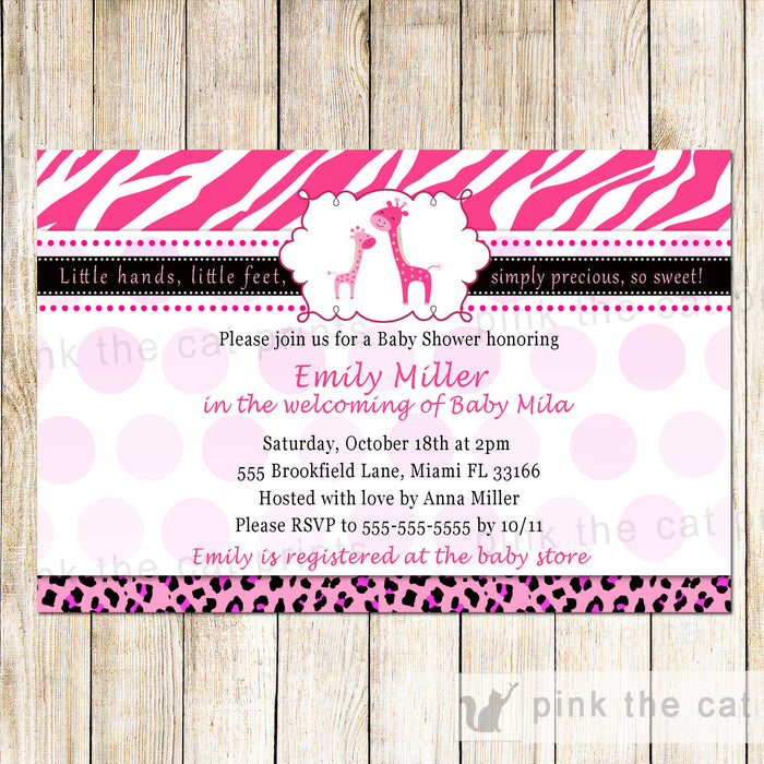 Giraffe Baby Girl Shower Invitation Hot Pink Zebra