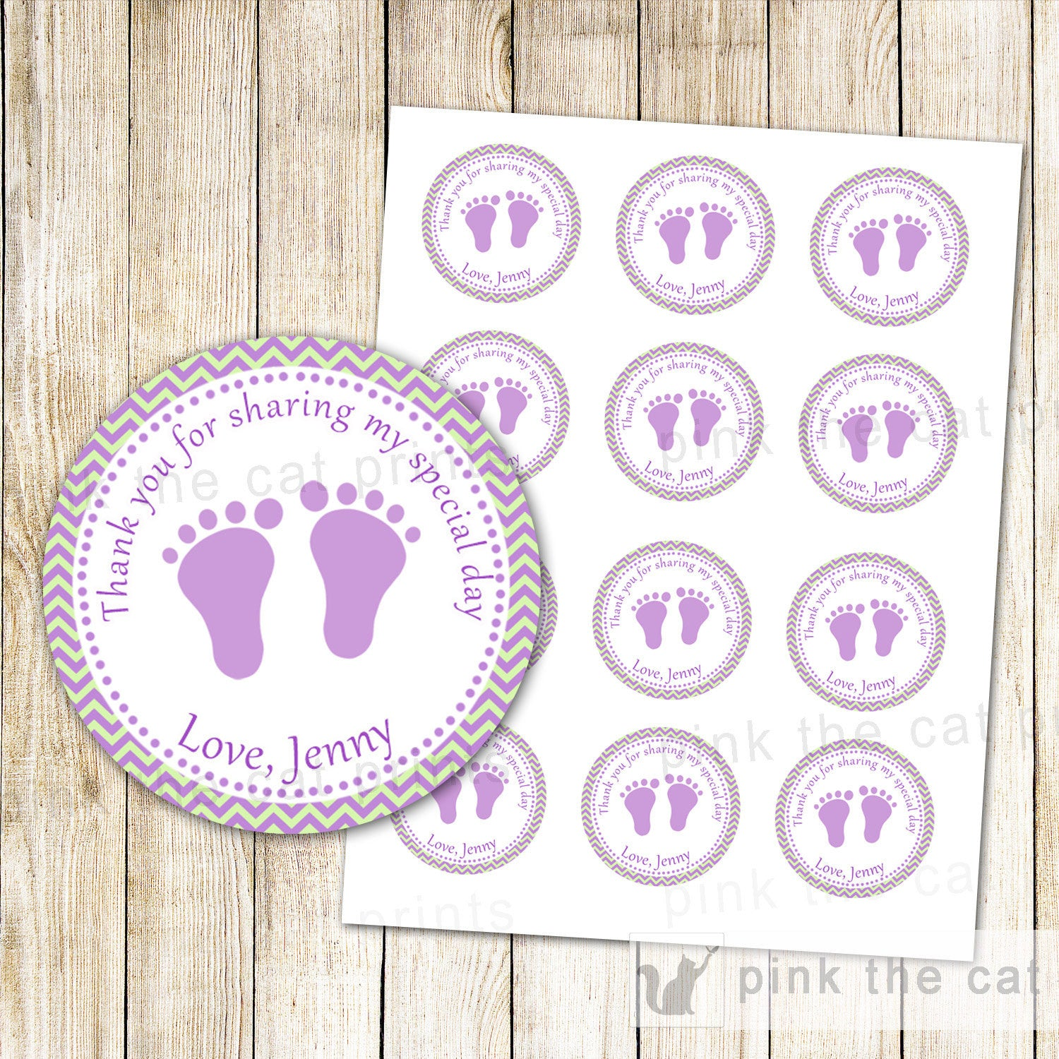 Purple Mint Green Labels Baby Shower Labels Baby Girl Shower