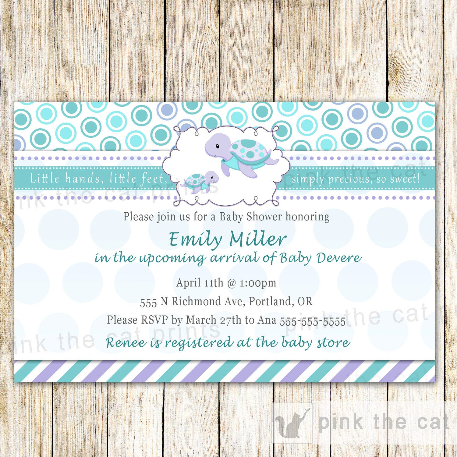 Turtle baby girl shower invitation teal purple pink the cat baby shower invitation filmwisefo