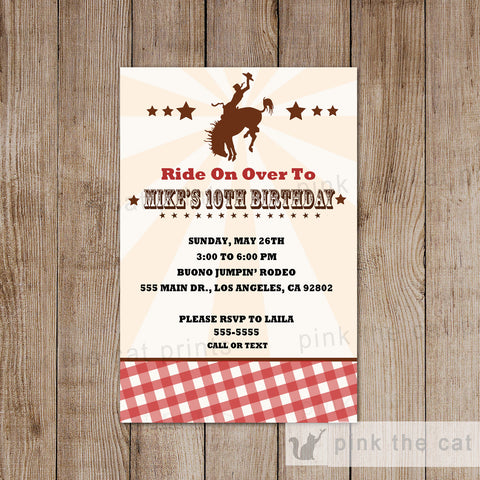 Cowboy Invitation Boy Girl Birthday Rodeo Party