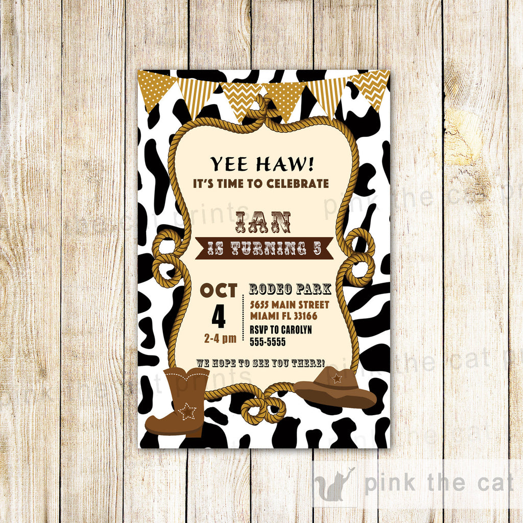 cowhide cowboy birthday invitation