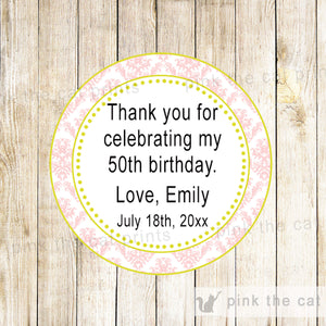 Pink Yellow Damask Adult Birthday Party Gift Favor Label