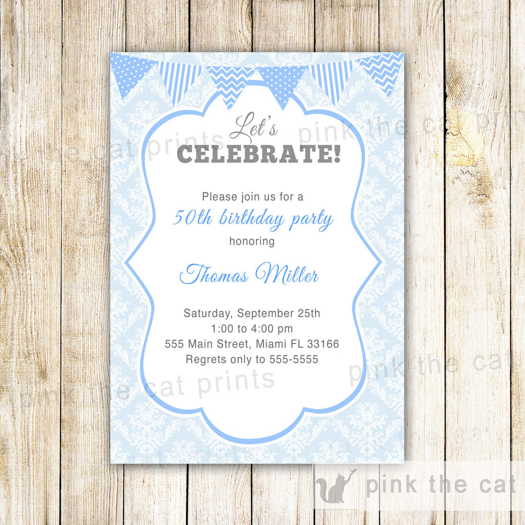 Adult Birthday Invitation Blue Damask