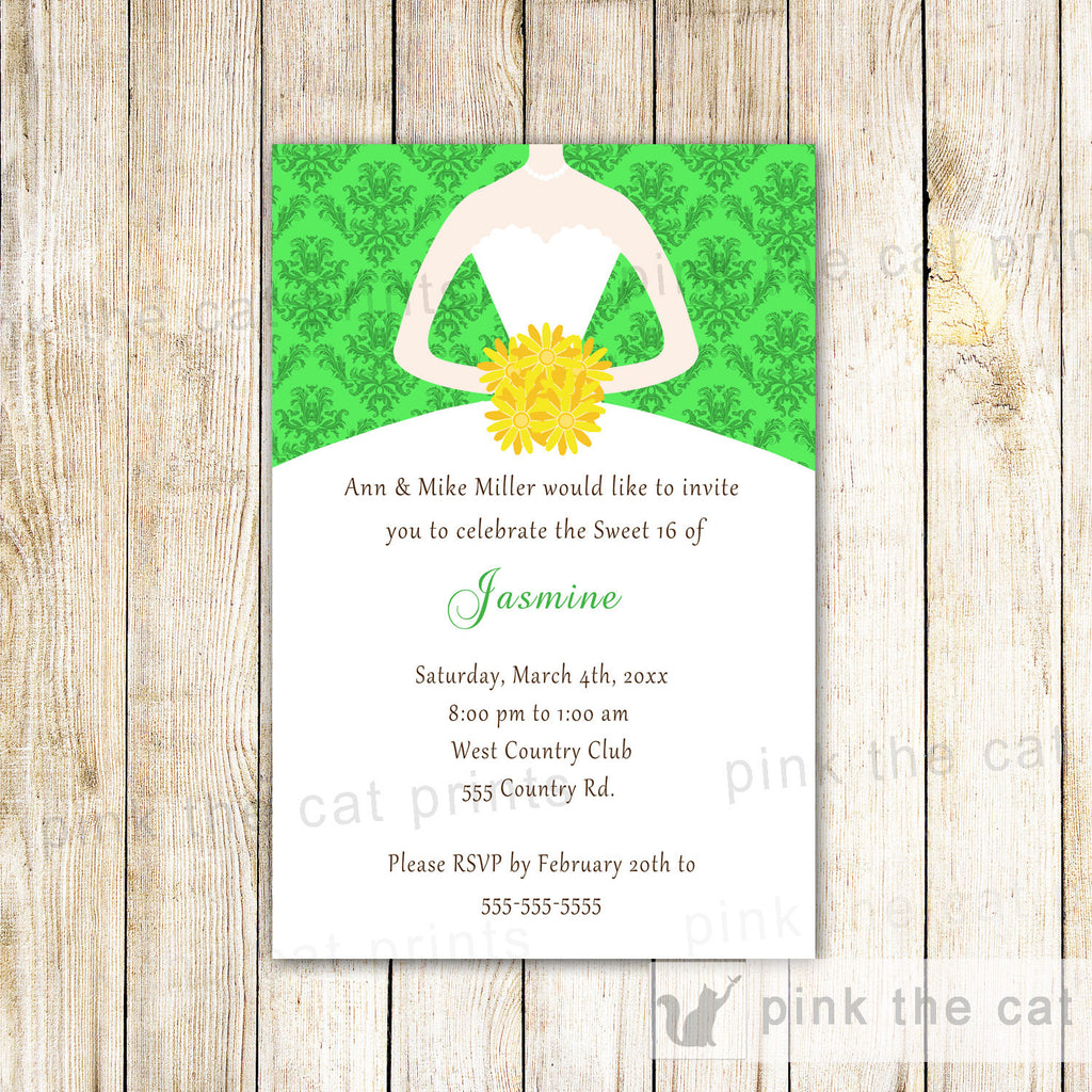 green yellow invitation dress damask
