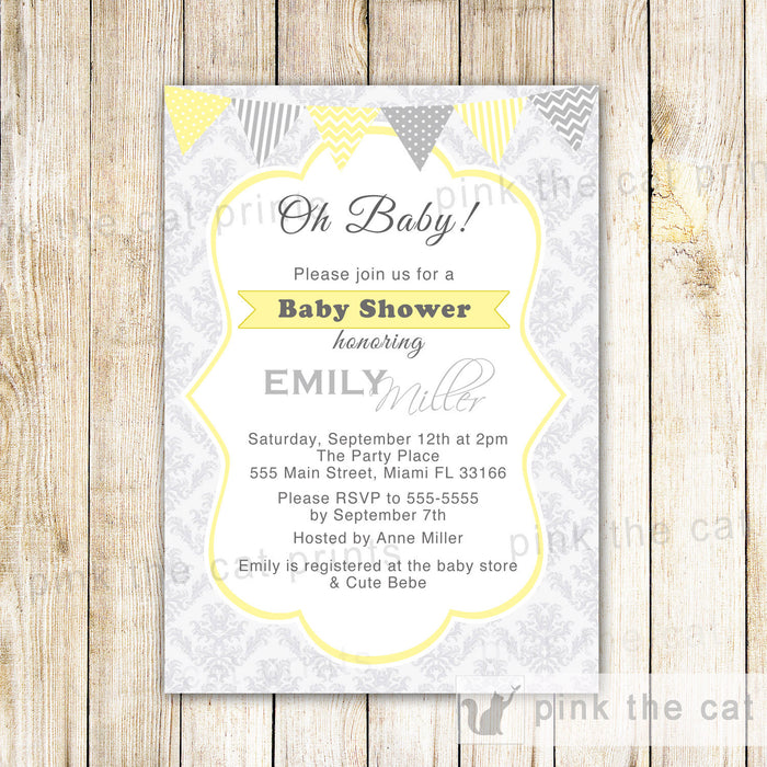 Oh Baby Invitation Boy Girl Unisex Shower Yellow Grey