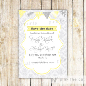 Grey Yellow Wedding Damask Save The Date Card