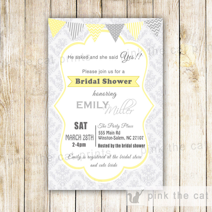 Silver Yellow Damask Bridal Shower Invitation