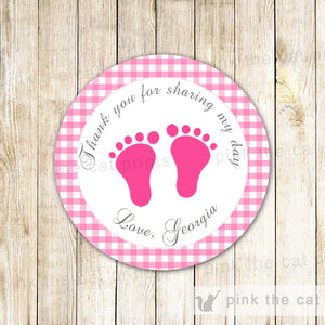 Hot Pink Gingham Gift Favor Labels Favor Tag Baby Girl Shower Sticker