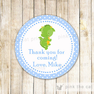 Dragon Gift Favor Label Thank You Tag Birthday Baby Boy Shower