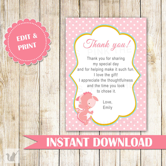 Pink Dragon Thank You Card Note Birthday Baby Girl Shower