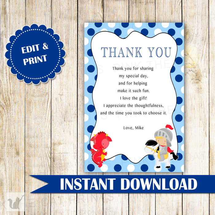 Dragon Knight Thank You Card Note Boy Birthday Baby Shower Blue Red
