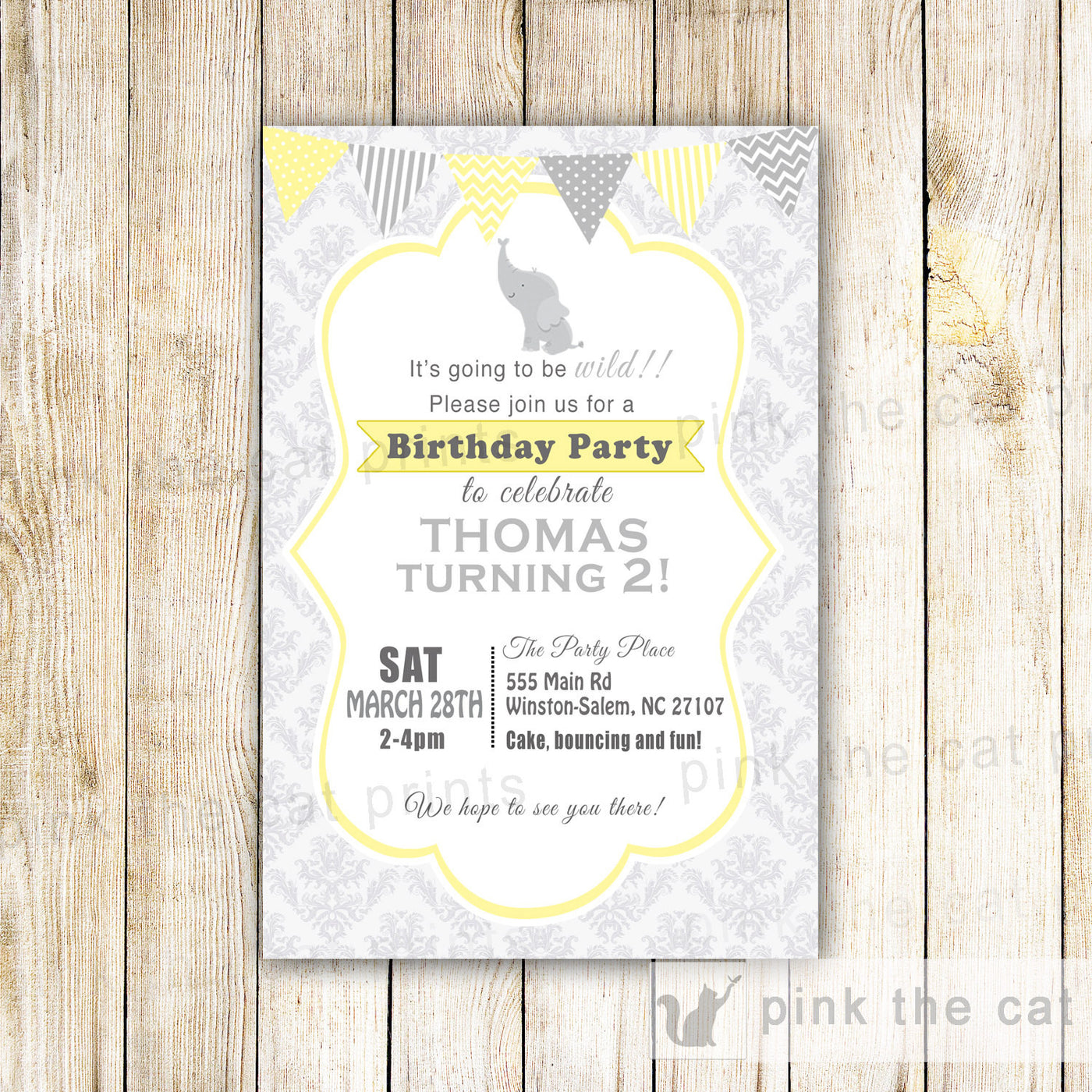 Elephant Invitation Boy Birthday Party Yellow Grey Pink The Cat