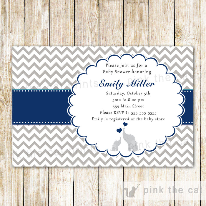 Elephant Invitation Navy Blue Grey Baby Boy Shower