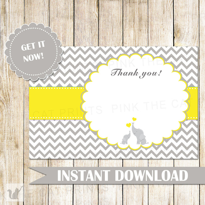 Elephant Thank You Card Unisex Baby Shower Note Yellow Grey