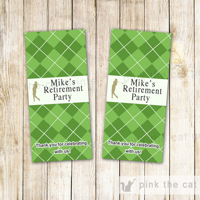Golf Mini Candy Label Wrapper Retirement Adult Birthday