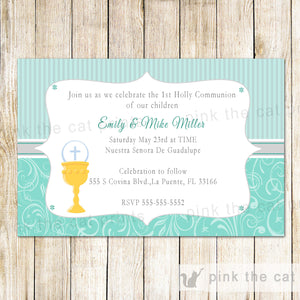 chalice 1st holy communion invitation