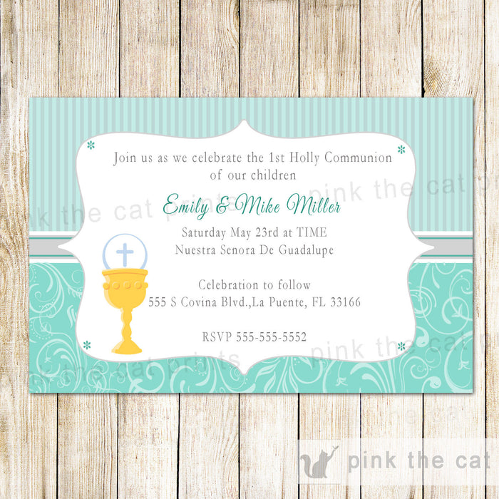 First Holy Communion Invitation Chalice Turquoise