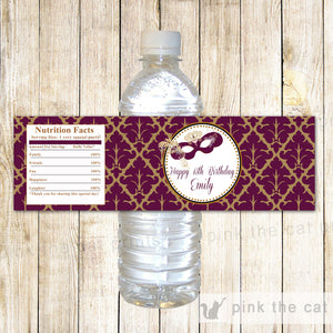 Masquerade Bottle Label Burgundy Birthday Sweet 16