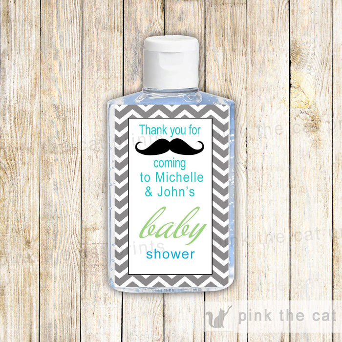 Mustache Baby Boy Shower Hand Sanitizer Label Chevron