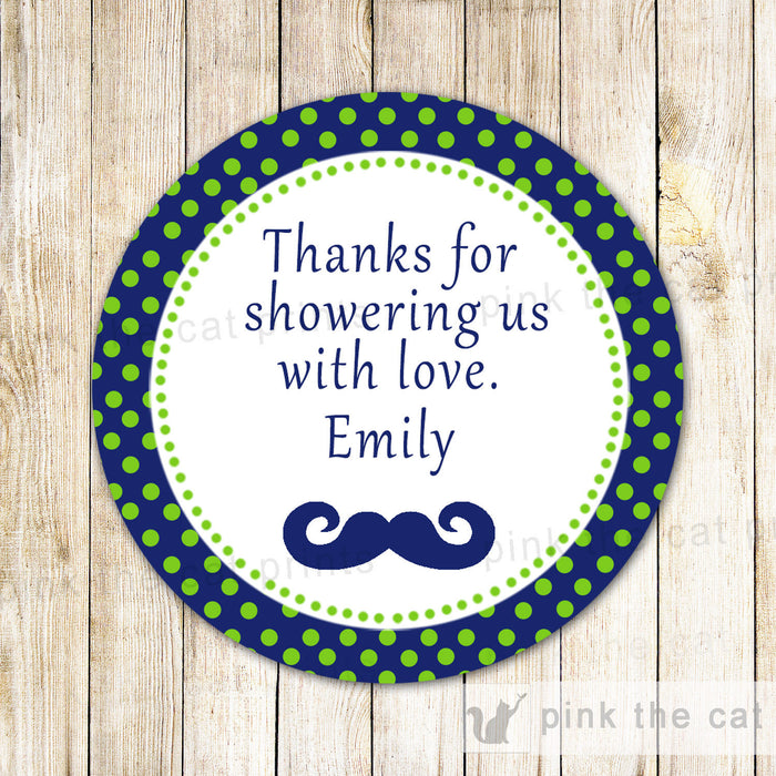 Mustache Thank You Label Favor Tag Navy Green Baby Boy Shower Birthday