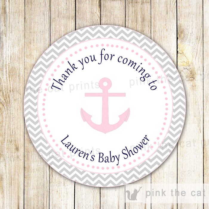 Nautical Anchor Thank You Label Favor Tag Sticker Baby Girl Shower Birthday