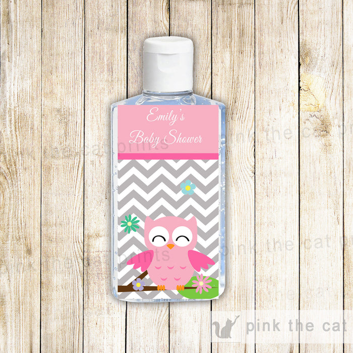 Owl Baby Girl Shower Hand Sanitizer Label Pink