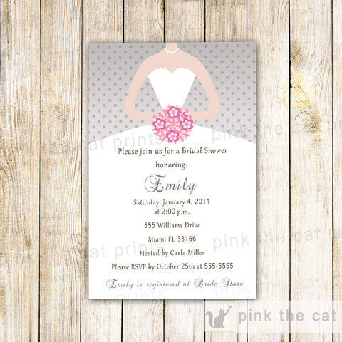 dress invitation silver pink