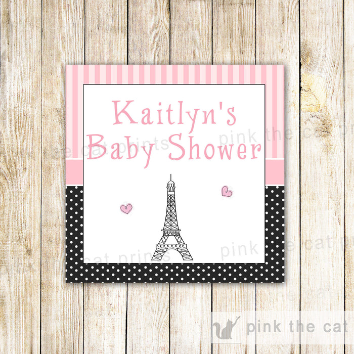 Paris Eiffel Tower Favor Labels Sticker Tag Baby Girl Shower Birthday