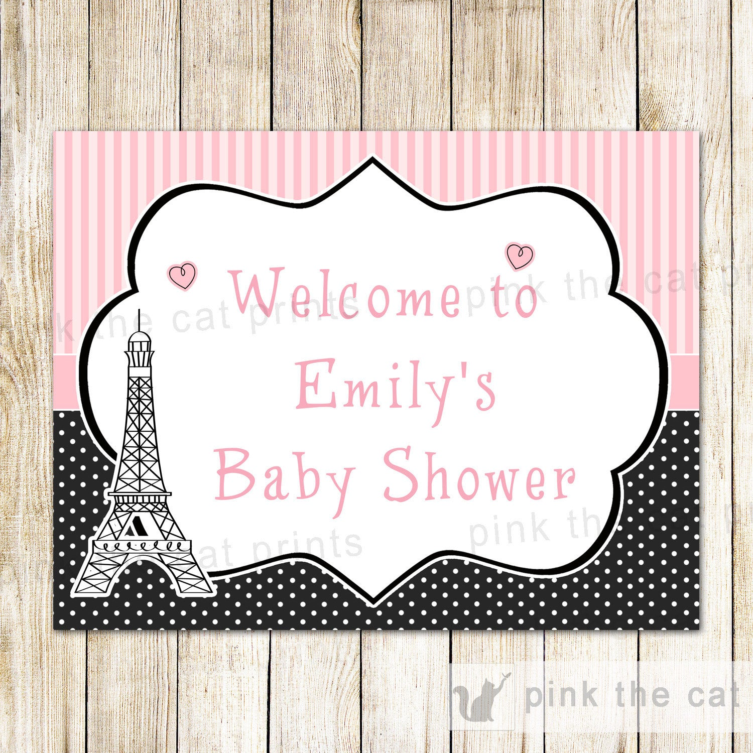 Paris Welcome Sign Eiffel Tower Birthday Baby Shower – Pink The Cat
