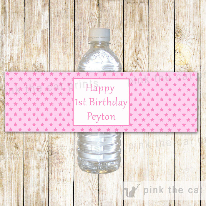 Pink Stars Bottle Label Birthday Baby Shower
