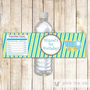 Truck Bottle Label Birthday Baby Shower