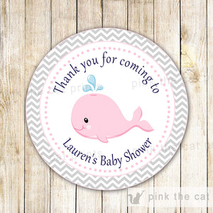 Whale Nautical Favor Label Gift Tag Girl Baby Shower Birthday Pink Grey