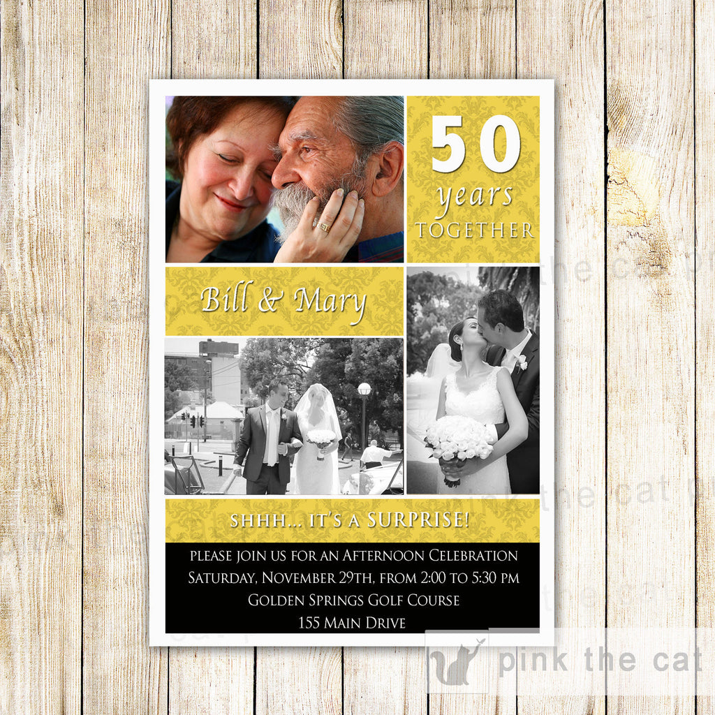 50th Wedding Anniversary Invitation Photo Card