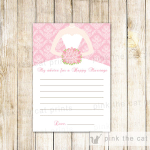 Bridal Shower Advice Cards Pink Damask