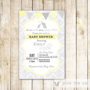 elephant yellow grey invitation