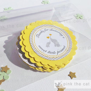 Elephant Thank You Tag Baby Shower Gift Favor Yellow Grey