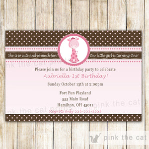 pink brown giraffes invitation polka dots