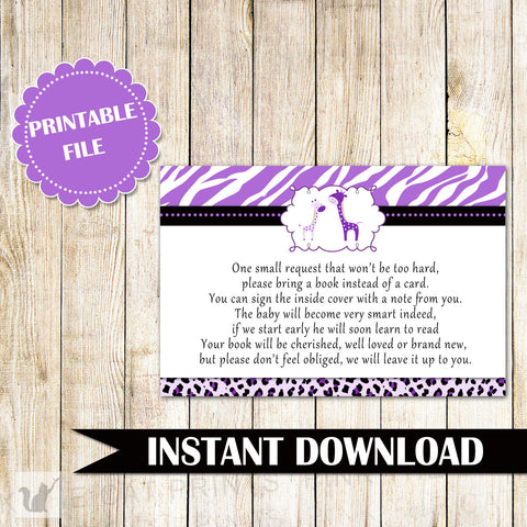 Bring a Book Instead Of a Card Giraffe Baby Shower Purple