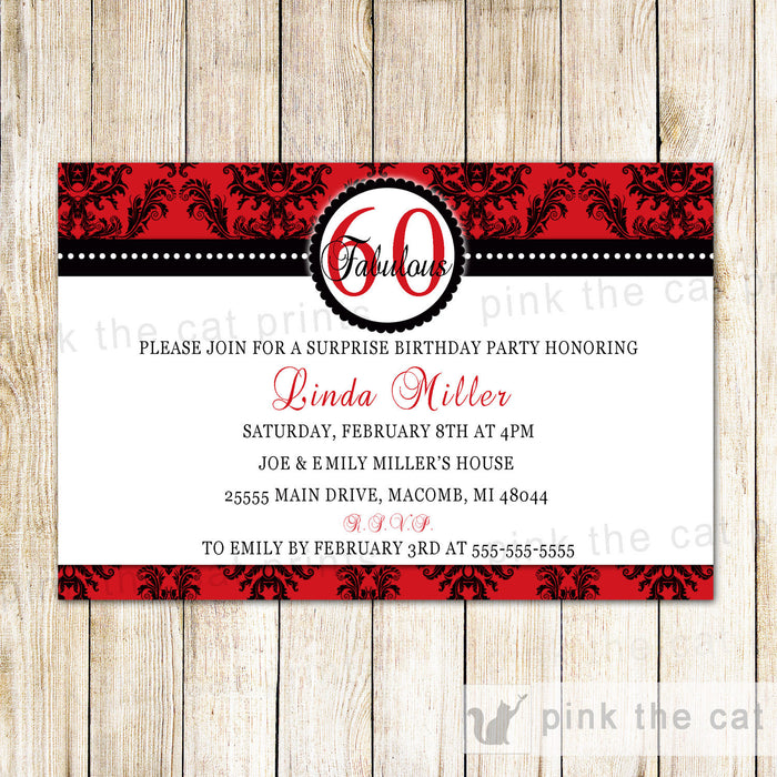 Red and Black Invitation Adult Surprise Birthday Party Red Black