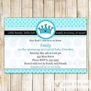 Prince Invitation Boy Baby Shower & Bring a Book Card Aqua Blue