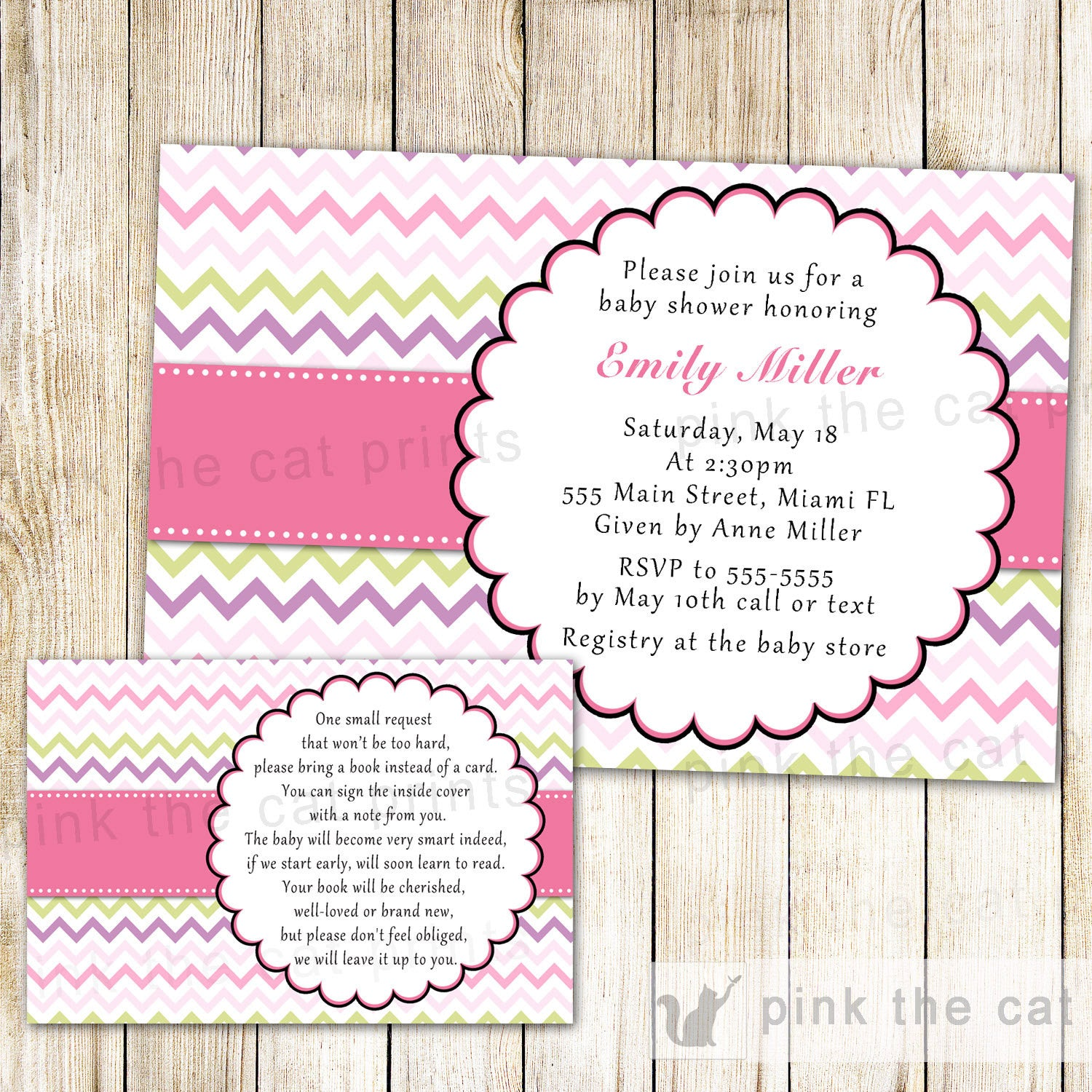Chevron Baby Girl Shower Invitation & Bring a Book Card Pink Green ...