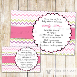 pink green baby shower invitation