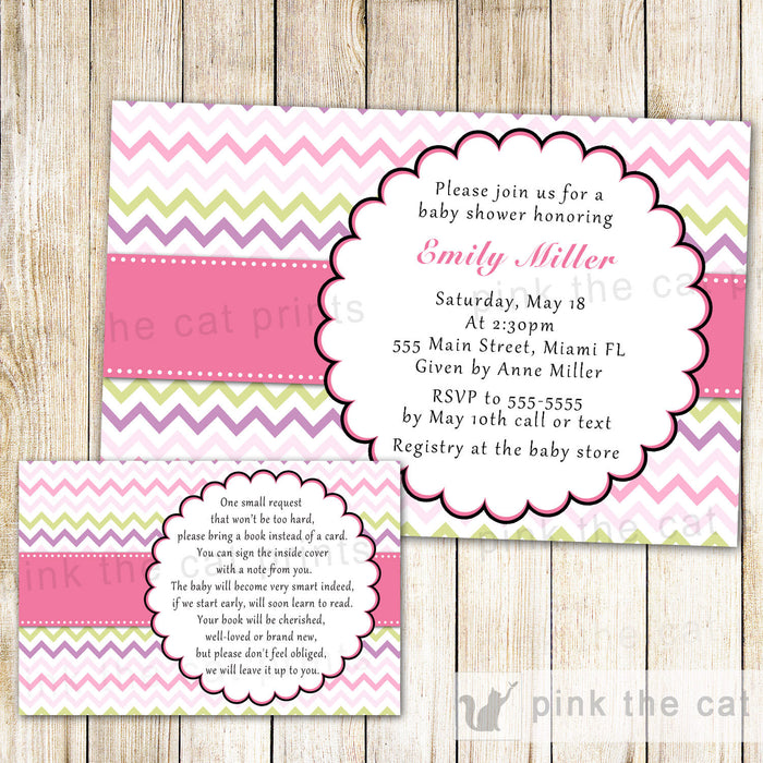 Chevron Baby Girl Shower Invitation & Bring a Book Card Pink Green