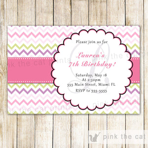 pink green birthday invitation