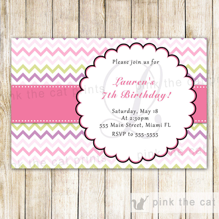 Pink Green Invitation Girl Birthday Party Chevron