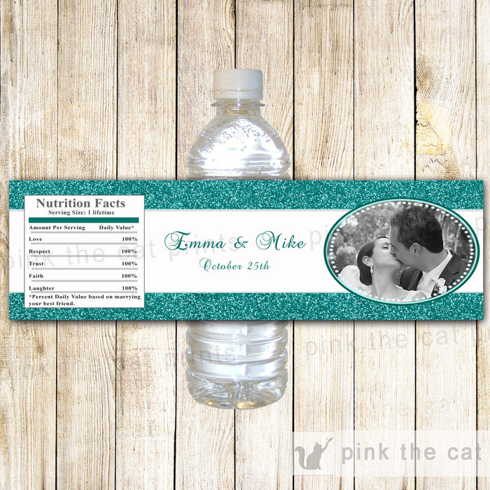 Teal Glitter Photo Bottle Label Wedding Bridal Shower